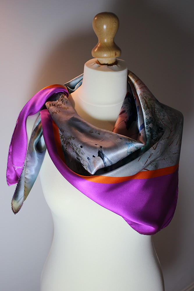 Designer Silk Scarf – Driving the cows