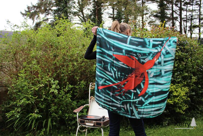 Fuchsia Landscape silk twill square scarf