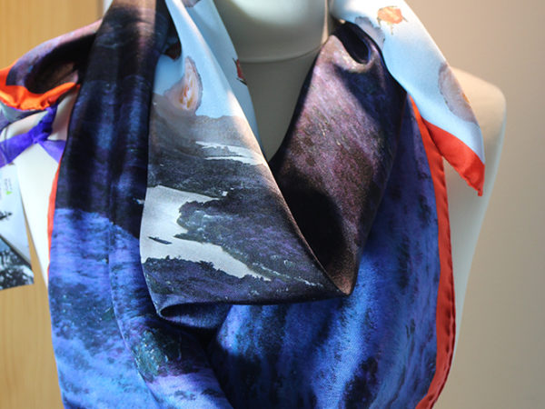 Lakes of Killarney -Ladies View with nostalgic rose sky silk scarf