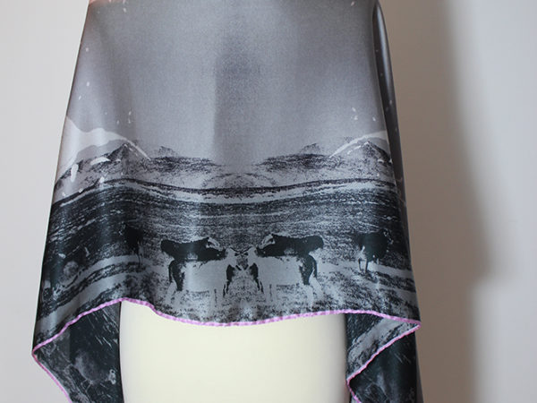 Muckross Fuchsia Paradise long silk scarf