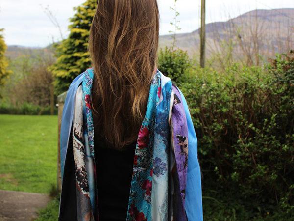 My Landscape stripes silk scarf