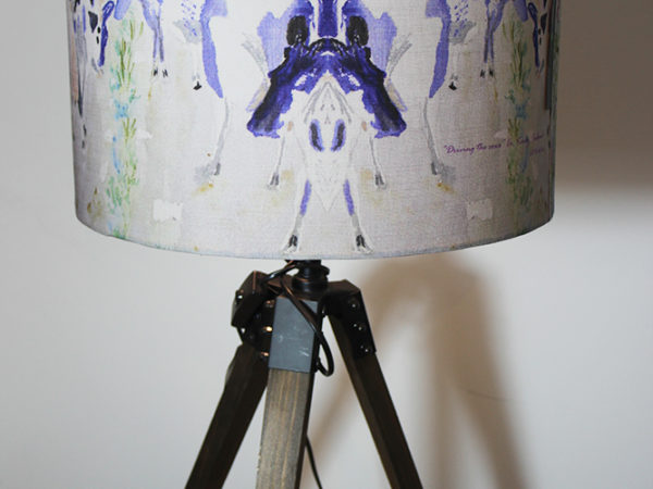 Driving the cows watercolor large lampshade