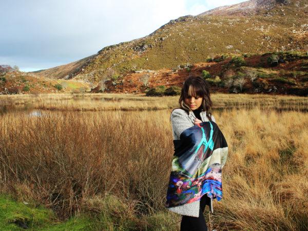 Heavenly Fuchsia Skies at the Gap of Dunloe Killarney by night silk scarf