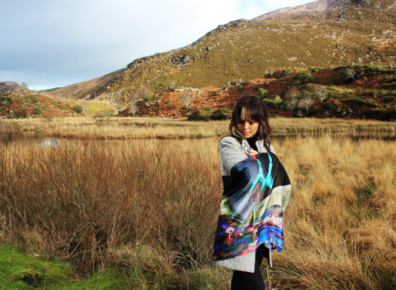Heavenly Fuchsia Skies at the Gap of Dunloe Killarney by night silk scarf