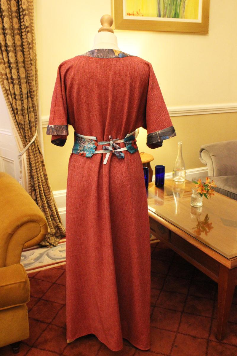 Fuchsia Woolen tweed kimono style wrap dress with silk borders