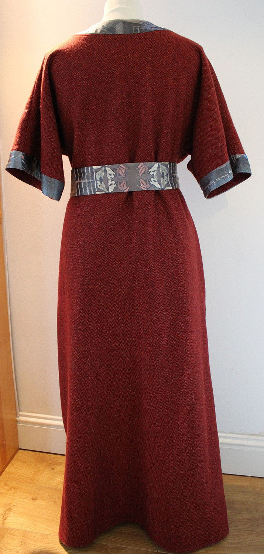"""Tweed Kimono style wrap dress in """"Carmine"""""""
