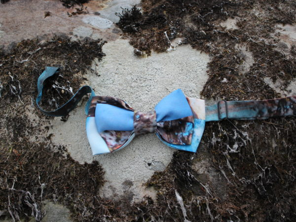 Wearable art silk bow tie one of a kind