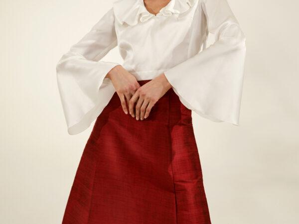 """""""Pomegranate"""" goache scalloped skirt"""