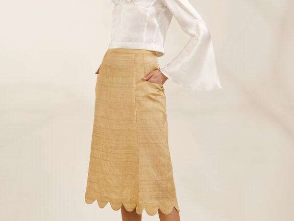 """""""Órla"""" Gold goache scalloped skirt"""