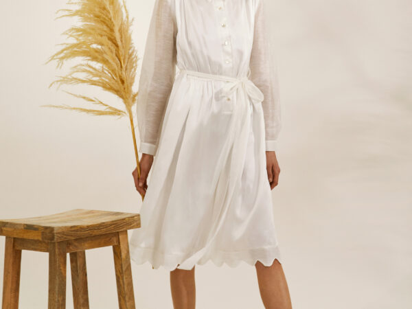 "The ""Bridget"" heirloom shirtdress in mulberry silk with transparent sleeves, belt and scalloped hem detail"