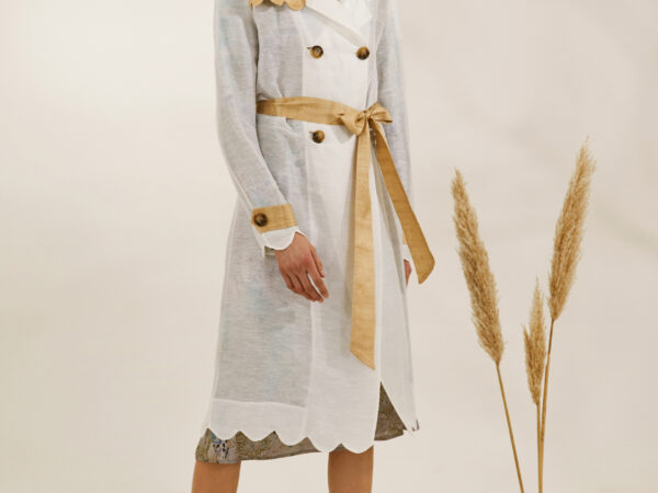 """Little Sparrow"" heirloom white and gold trenchcoat"
